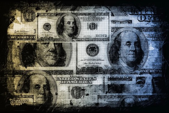 Abstract 100 dollars bills are show in a dark color emphasizing that millions isn't the answer.