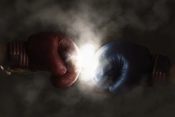 Democrats and Republicans in the 2016 election are symbolized with Red and Blue Boxing Gloves. The Psychology of Persuasion in the 2016 election closely resemble a boxing match.