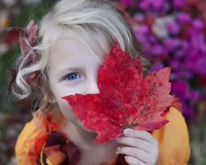 A picture of a young girl is shown holding a red leaf up on her face and playfully covering one of her eyes.