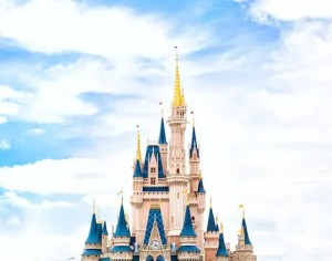 A picture of the top of the Disney Cinderella's in Shanghai is shown.