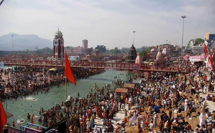 An image shows one the many sacred cities of India, Haridwar, during the important religious festival of Kumbha Mela in 2016.