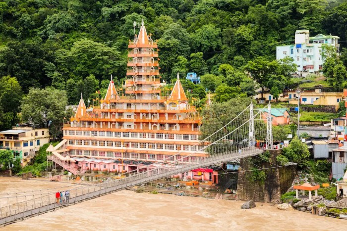 Rishikesh, the world capital of yoga, is shown with the river and the Tera Manzil Temple. Rishikesh is one of India's holiest cities.