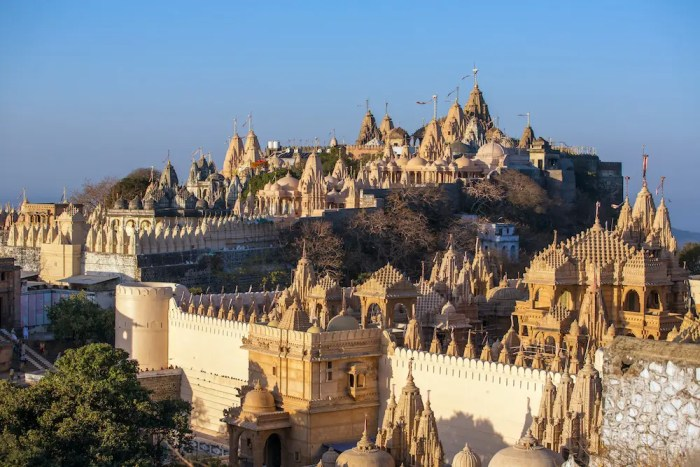 Jain temples are pictured on top of the Shatrunjaya hill. Palitana is one of India's sacred cities.