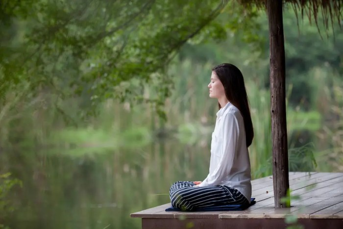 A woman is shown meditating on a dock under a tree. She is also next to a serene lake. This image represents one of the many benefits of meditation being that it helps treat depression.