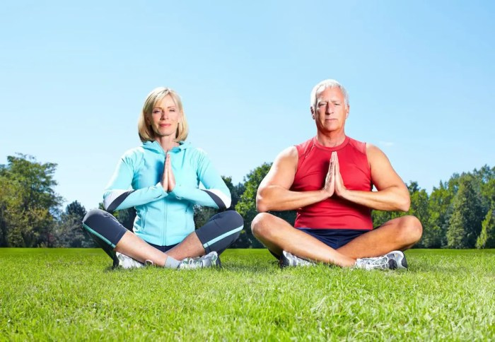 An image shows an older couple sitting on grass in meditative postures. One of the many benefits of meditation is that it slows the aging process.