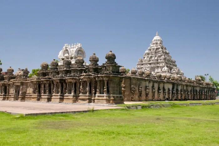 The Beautiful Pallava architecure at Kailasanathar temple in Kanchipuram India is shown.