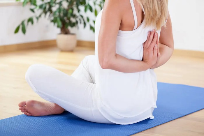 The back of a woman is shown as she sits on a yoga mat in a meditative pose. One of the many benefits of meditation is a reduction in psychical pain.