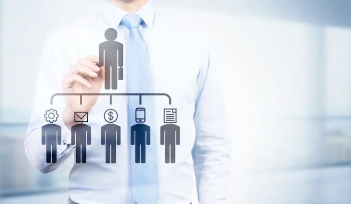 A computer generated image shows a businessman Businessman pointing at delegating pictogram of different business functions. This picture represents the idea of different organizational structures in Balanced Achievement's article on becoming the CEO of one's self.