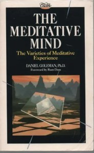 The cover of Daniel Goleman's first book The Meditative Mind is shown.