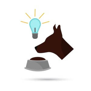 An illustration shows a dog, lightbulb, and food bowl together. This image represents Ivan Pavlov's story of learning about conditioning.