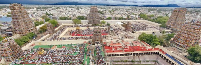 An image shows an aerial view of the Meenakshi Temple in Madurai.