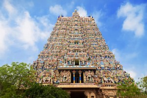 An image shows a close up of the detailed work at the Meenakshi Temples in India.