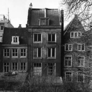A black and white picture shows the secret Annex which Anne Frank and her family hide in during World War II.