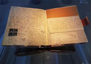 Anne Frank's original diary is shown while on display at the Anne Frank Museum in Amsterdam.
