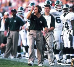 An image shows legendary football coach Nick Saban while coaching at Michigan State University. It was here where Nick Saban's process was born.