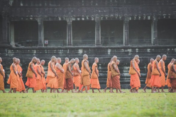 An image shows a group of 20+ Buddhist monks dressed in their traditional robes walking down a path. This picture serves as the featured image for Balanced Achievement's article on the Buddha's teaching about The Noble Eightfold Path.