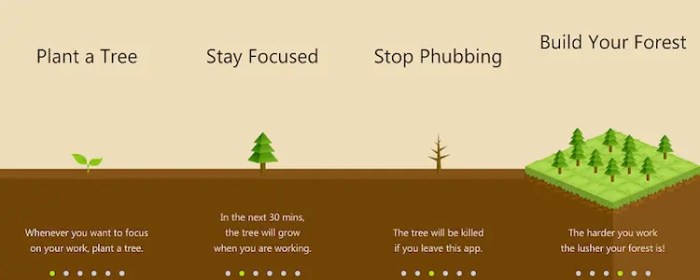 An image shows 4 diagrams that outline the Forest App process which implements the Pomodoro Technique and gamification together.