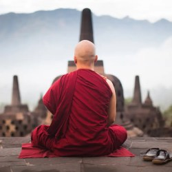 An image shows a Buddhist monk sitting on an outdoor stone floor practicing meditation. This image represents the Division of Mental Discipline in the Buddha's Noble Eightfold Path.
