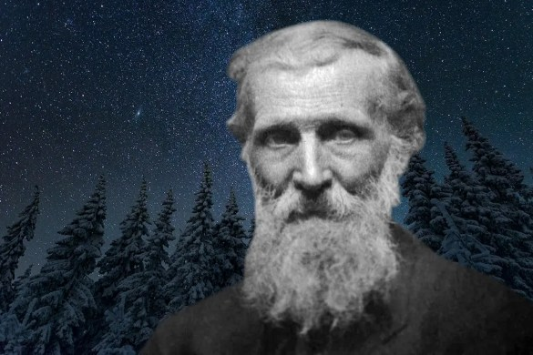 A computer generated image shows a headshot of the immortalized transcendentalist John Muir superimposed on a scenic winter night pine tree setting with the stars above. This picture is used as the featured image for Balanced Achievement's article highlighting 20 John Muir Quotes.