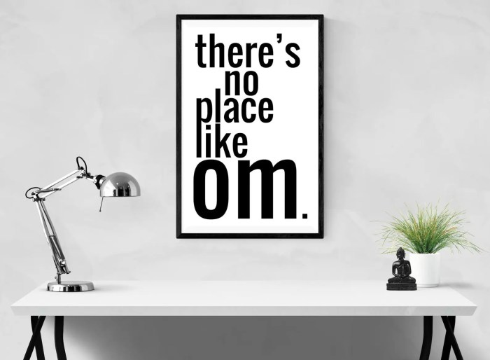 An image shows Balanced Achievement's print that reads 'theres no place like om.' hanging on a wall behind a desk. This picture is featured in Balanced Achievement's article on the launch of their new Etsy shop.