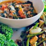Vegan Mushroom & Tomato Asian Soup + Tempeh Stir Fry