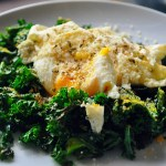 Simmered Kale with Over-easy Eggs