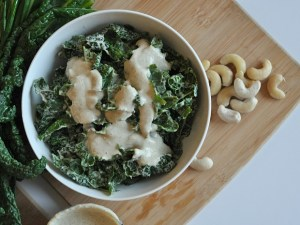 raw vegan kale caesar salad