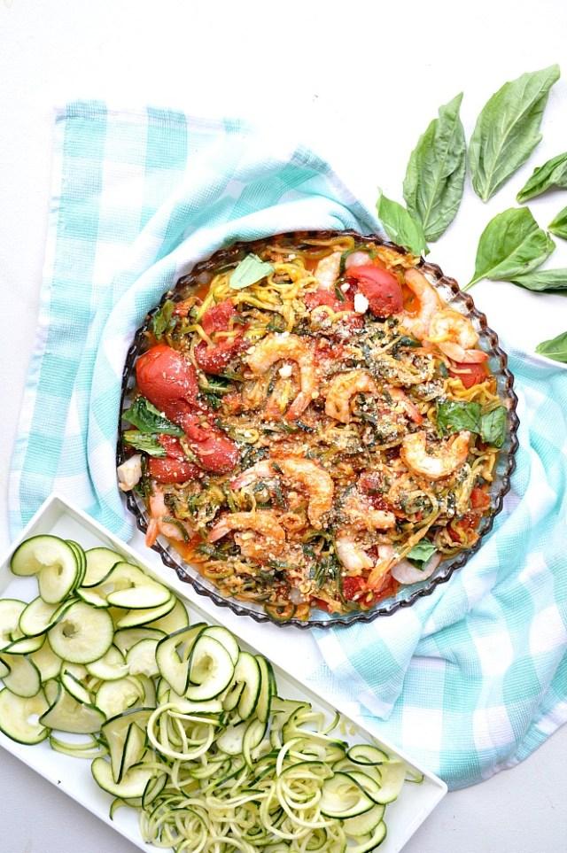 Roasted Tomato and Lemon Basil Zucchini Noodle Pasta