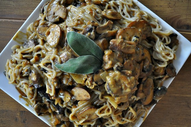 mushroom stroganoff with spiralized parsnip noodles