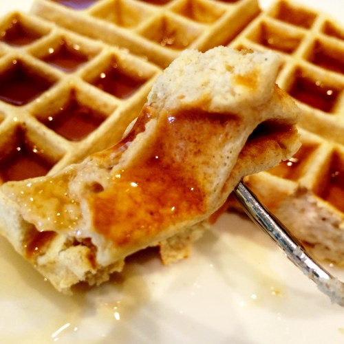 Balanced Grettie Lower Carb Gluten Free Waffle with Syrup BITE