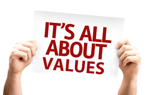 Its all about Values sign