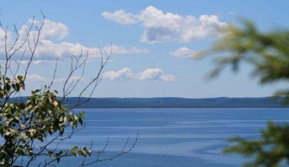 Glen Lake blue sky clouds and hilly horizon_Glen Arbor_Leelanau Peninsula