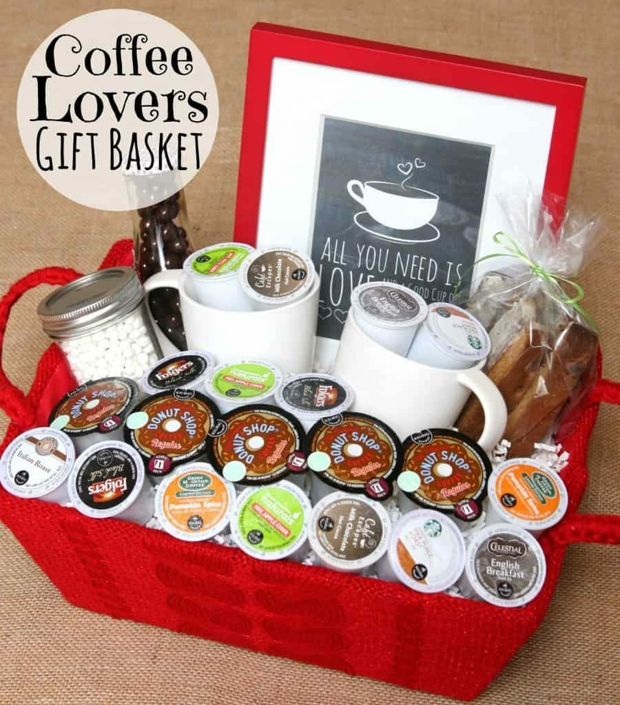 Gift basket with coffee k-cups and coffee mugs.