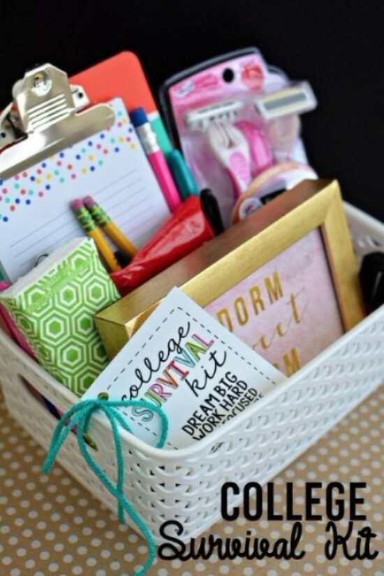 DIY gift basket with college related items.