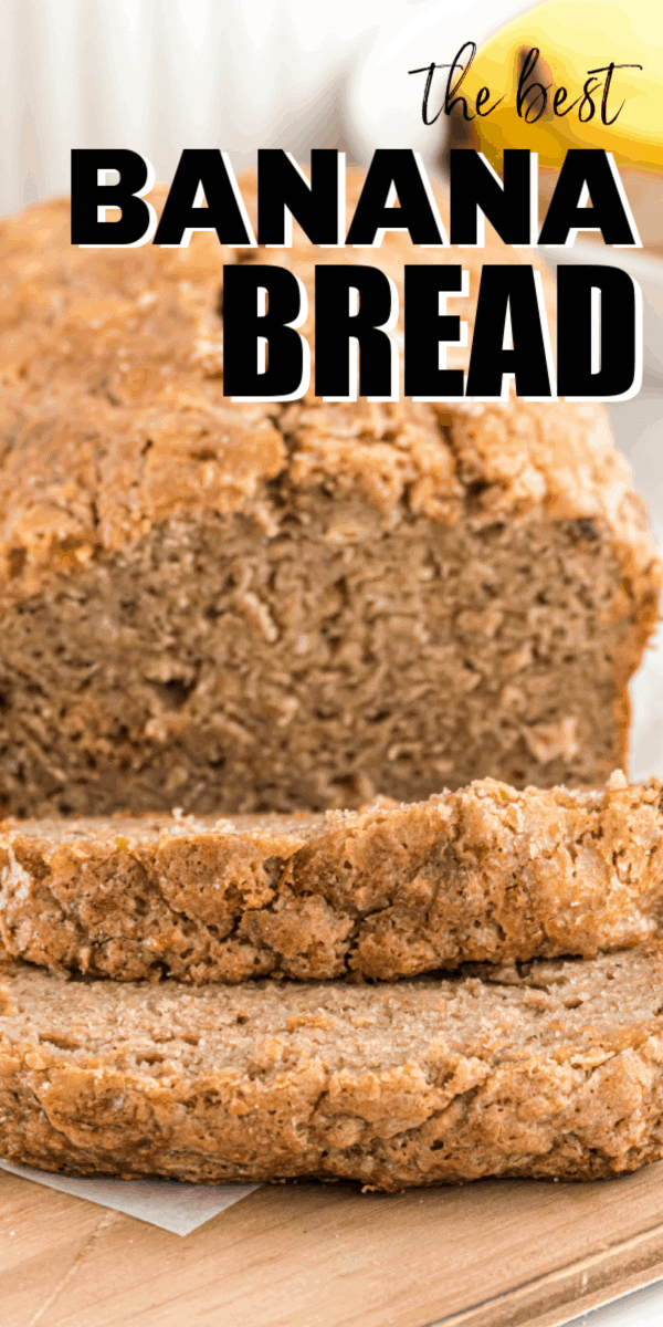 Banana bread is a staple breakfast bread that's naturally sweetened with ripe bananas and is topped with a sugary mix of brown and white sugar.