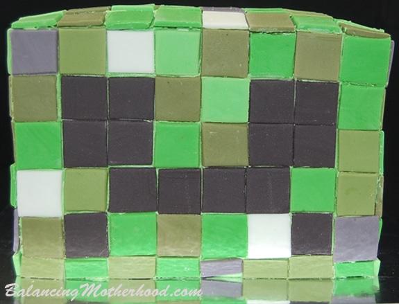 Minecraft cake: Minecraft Creeper birthday cake
