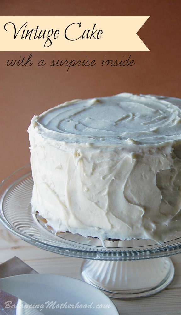 vintage cake with a surprise brownie inside   easy to make