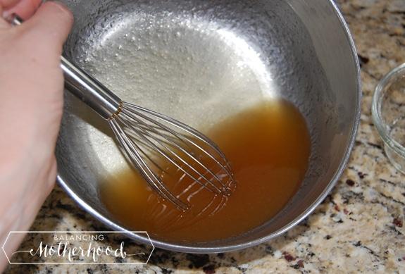 mixing the honey