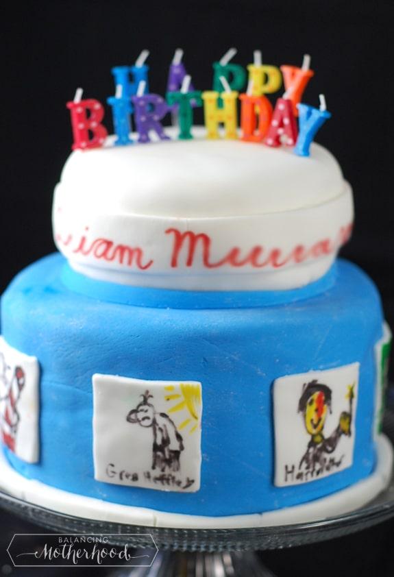 Boy's birthday cake with Diary of a Wimpy Kid