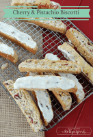 cherry and pistachio biscotti, dipped in white chocolate. Delicous!
