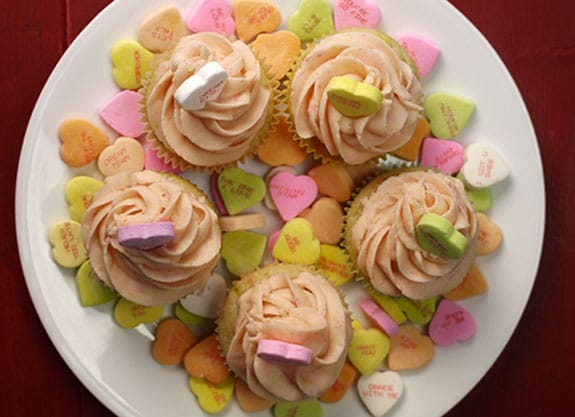 conversation heart cupcakes for Valentine's day
