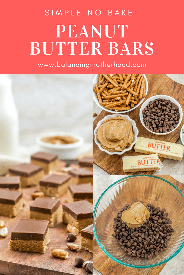 Peanut butter bars in small squares on cutting board.