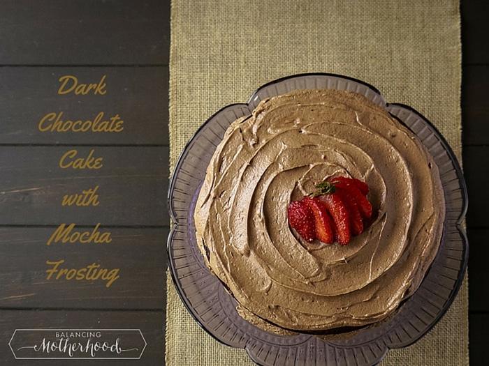 Dark chocolate cake with mocha frosting