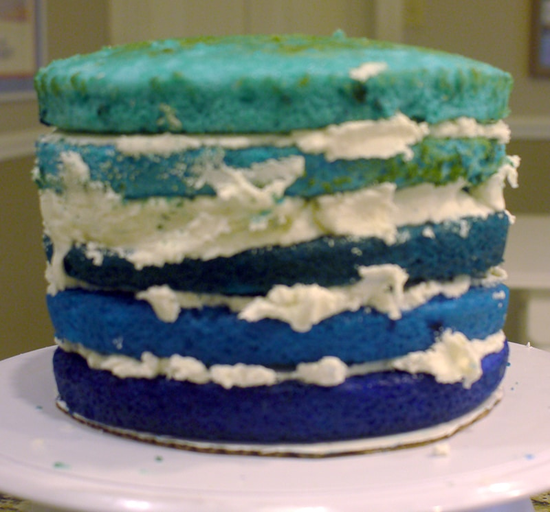 undersea cake ombre cake layers inside the cake