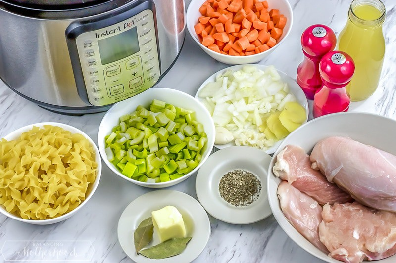 Instant Pot chicken noodle soup ingredients