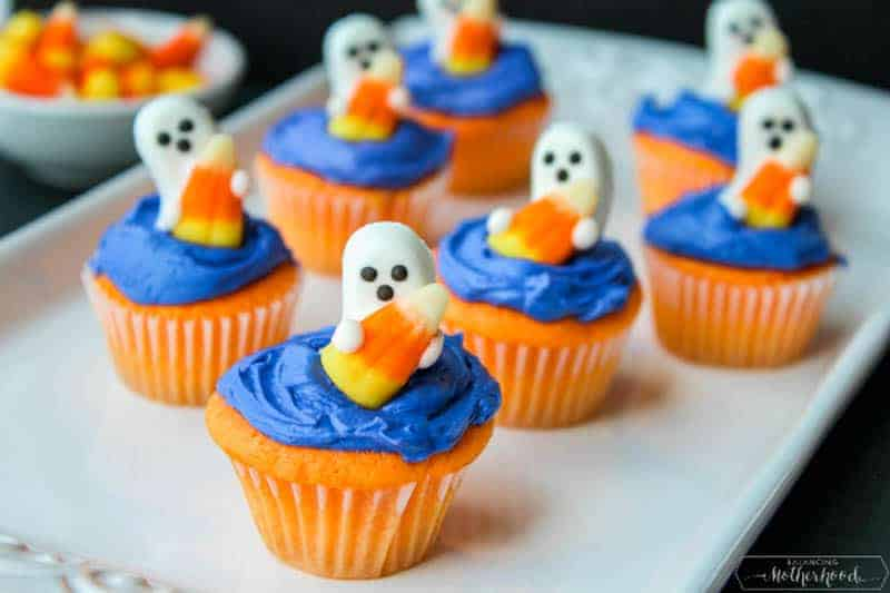Add more spooky feel to your party with these Halloween Ghost Cupcakes.
