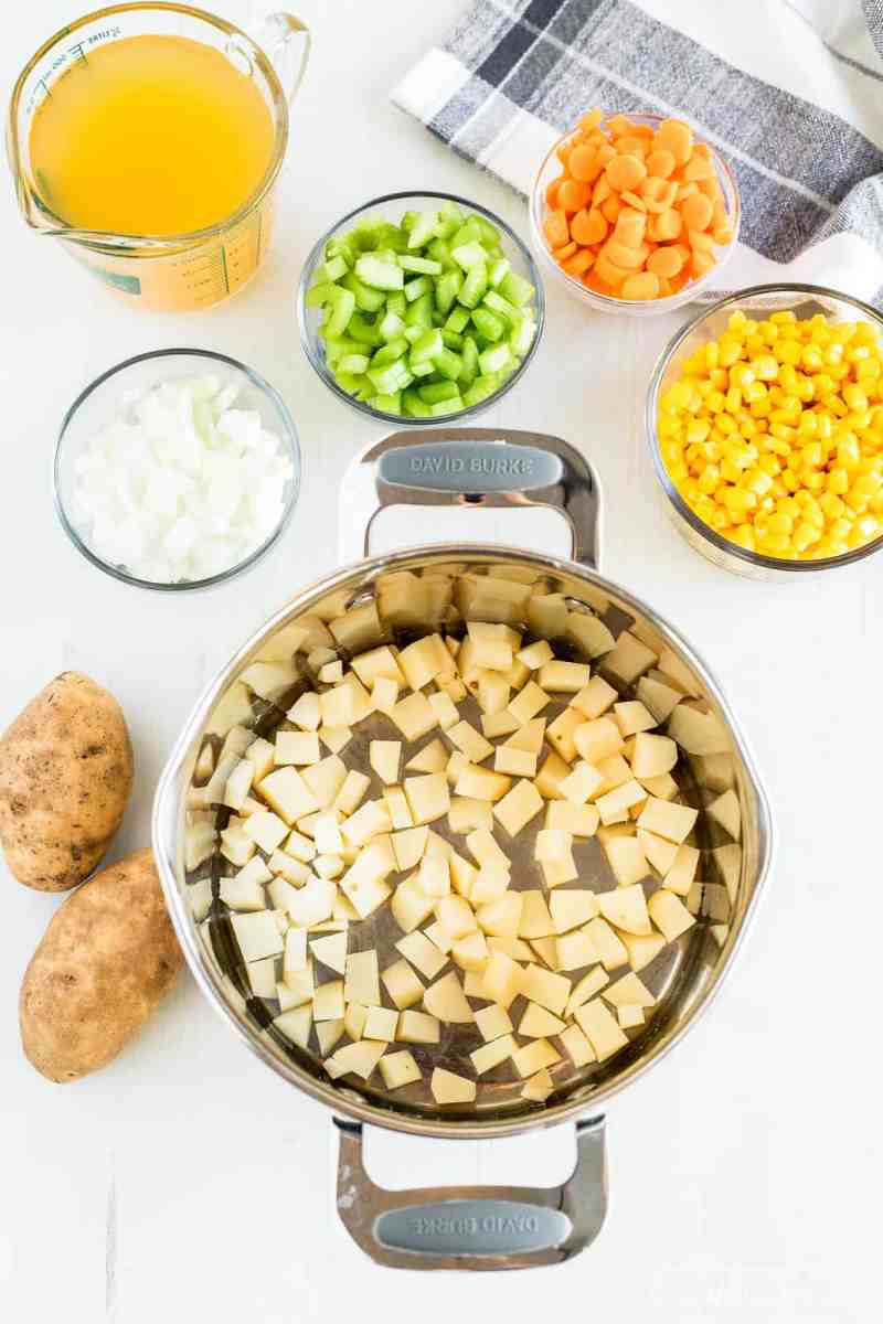 Ingredients for corn chowder soup