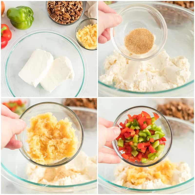 ingredients to make pineapple cheeseball recipe: crushed pineapple, cream cheese, seasoned salt, green peppers, pecans