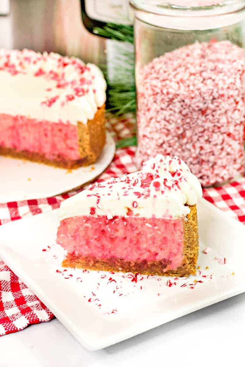 slice of peppermint cheesecake with peppermint candy