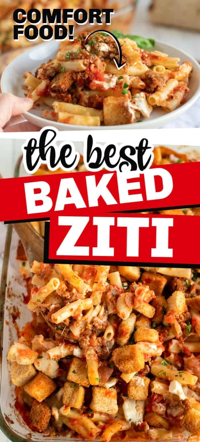 Baked ziti with sausage is a favorite in our home. The Italian sausage flavor combined with several different cheeses with a light tomato puree to tie it all together makes this the perfect comfort dish. I love that this recipe doesn't take a lot of time to put together and it is super easy to double the recipe and put one in the freezer, to take to a friend in need, or to feed a crowd! #ziti #bakedziti #bakedcasserole #pastarecipe #recipe #balancingmotherhood #sausageziti